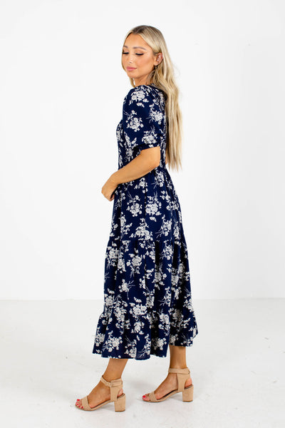 Navy Round Neckline Boutique Dresses for Women