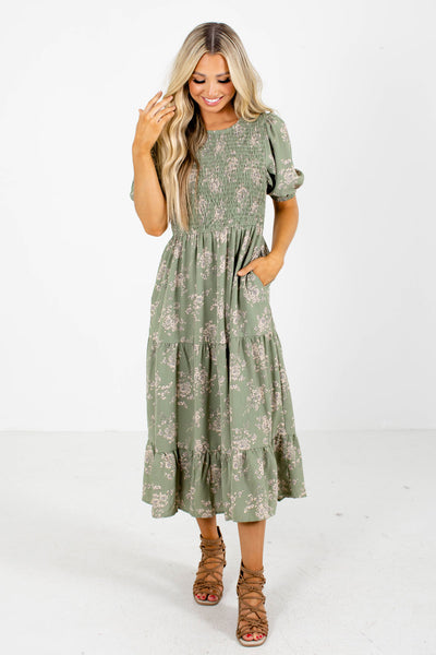 Green Lightweight Material Midi Dress Boutique Clothing for Women