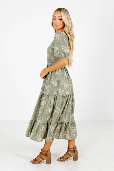 Women's Green Midi Dress Boutique Clothing for Women