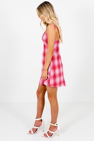 Red and White Plaid Fully Lined Boutique Mini Dresses for Women