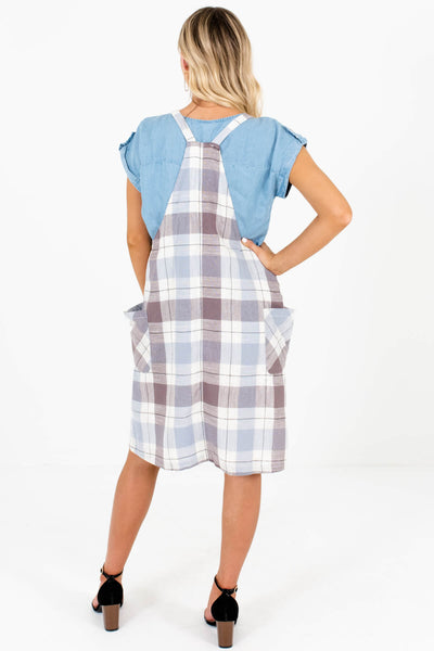 Blue Brown Cream Plaid Overall Dresses Affordable Online Boutique