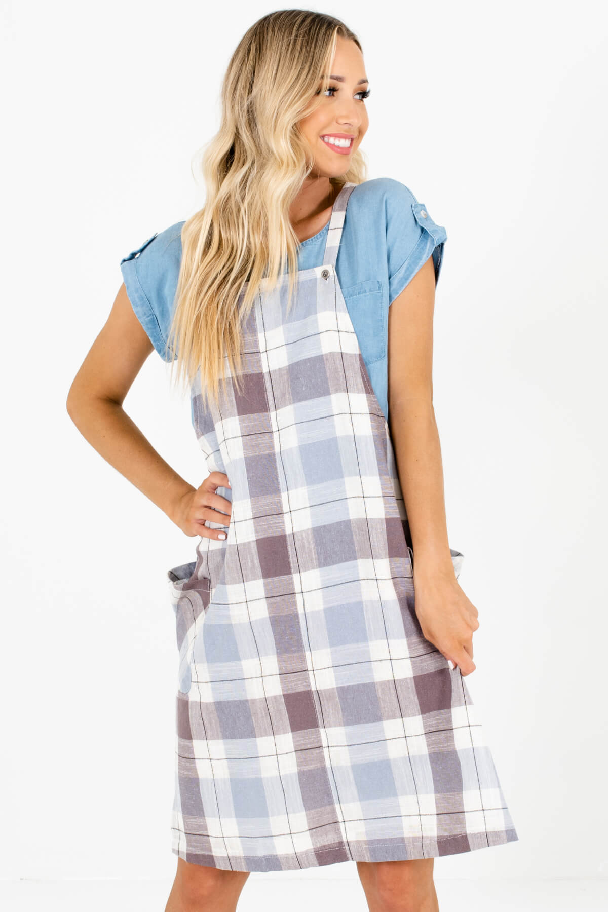 Blue Brown Cream Black Plaid Overall Dresses Affordable Online Boutique