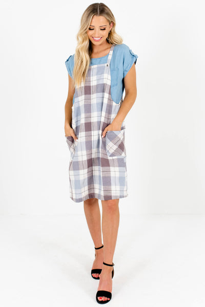 Blue Brown Cream Plaid Knee-Length Overall Dresses with Pockets