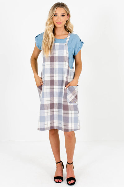 Blue Cream Brown Plaid Knee-Length Overall Dresses with Pockets