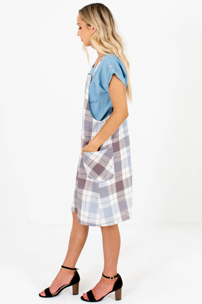 Blue Brown Plaid Knee-Length Overall Dresses Affordable Online Boutique