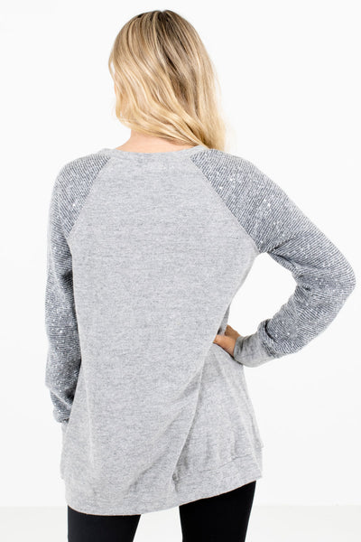 Women's Gray Sequin Accented Boutique Sweater