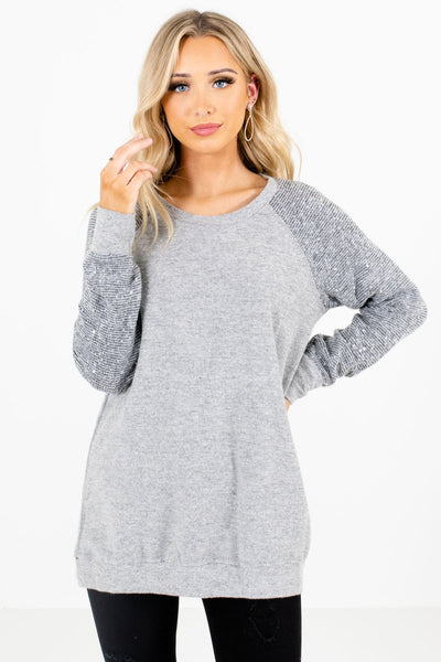 Gray High-Quality Soft Material Boutique Sweaters for Women