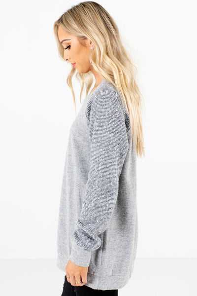 Gray Relaxed Fit Boutique Sweaters for Women