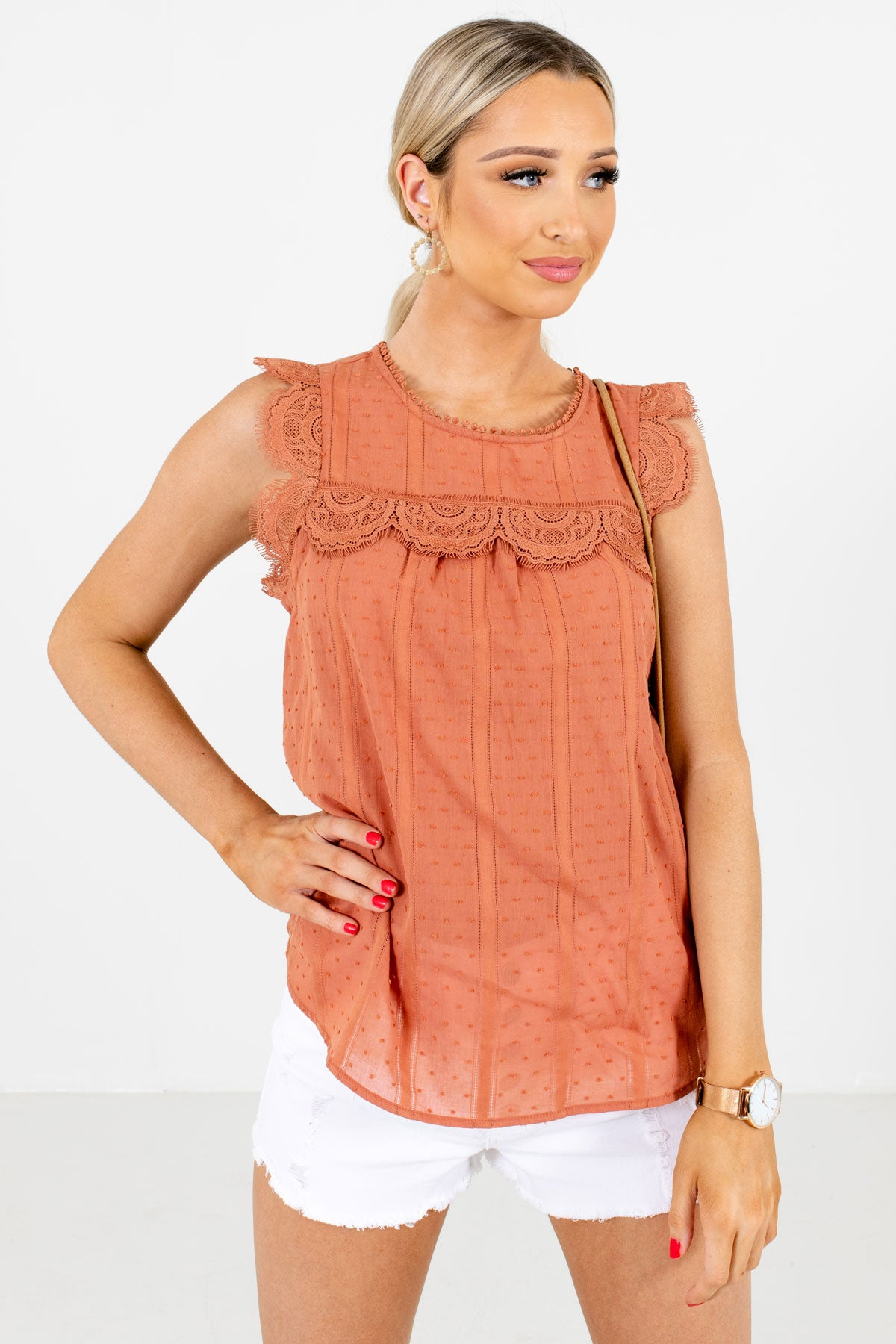 Orange Lace Detailed Boutique Tank Tops for Women