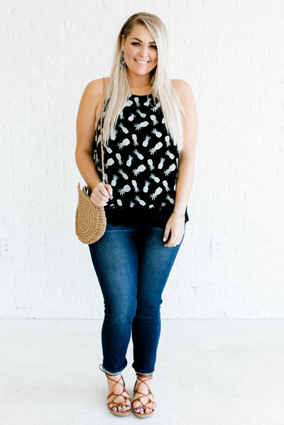 Black and White Cute Plus Size Boutique Tank Tops for Women