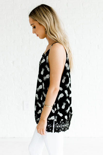 Black and White Keyhole Back Detail Boutique Tank Top for Women
