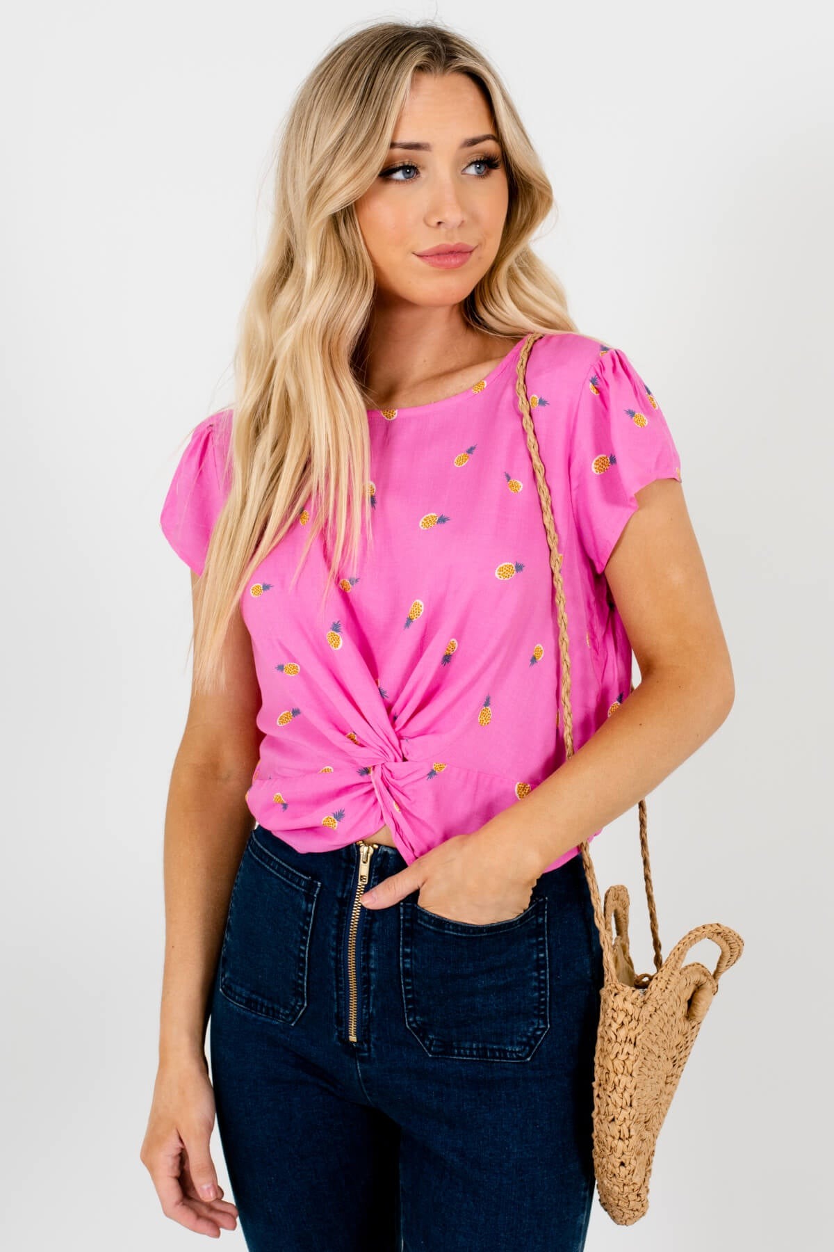 Pink Multicolored Pineapple Patterned Boutique Tops for Women