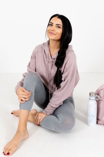 Women's Blush Pink Fitted Hem Boutique Active Hoodies