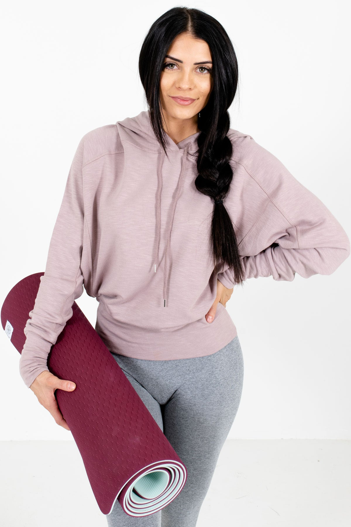 Blush Pink Drawstring Hood Boutique Active Hoodies for Women