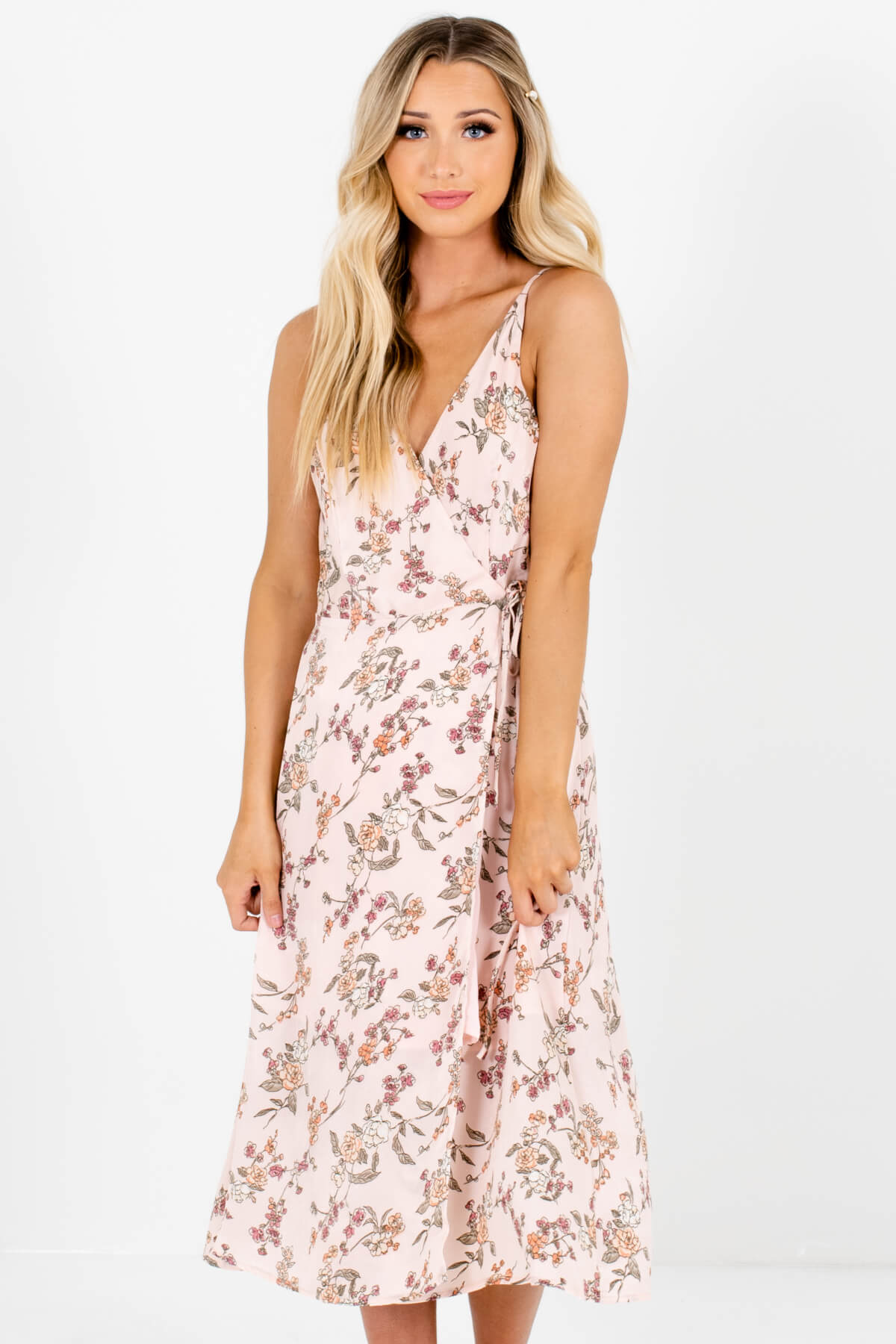 Pink Silky Floral Wrap Midi Dresses Affordable Online Boutique