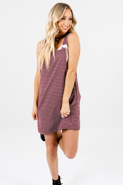 Red Houndstooth Plaid Mini Pinafore Dresses for Women