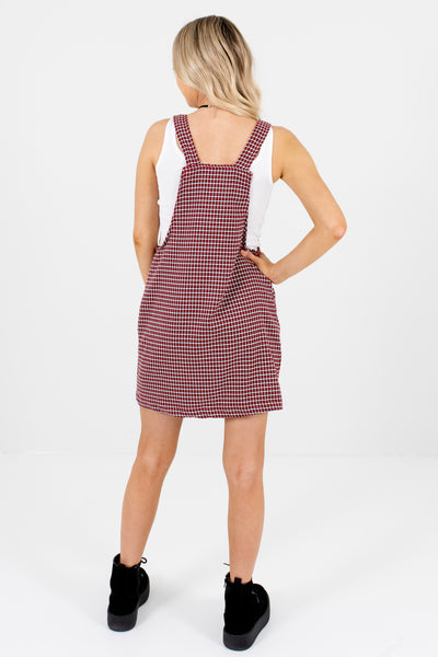 Red Houndstooth Plaid Boutique Mini Pinafore Dresses for Women