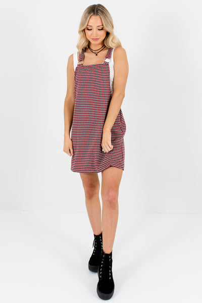 Red Plaid Houndstooth O-Ring Mini Pinafore Dresses for Women