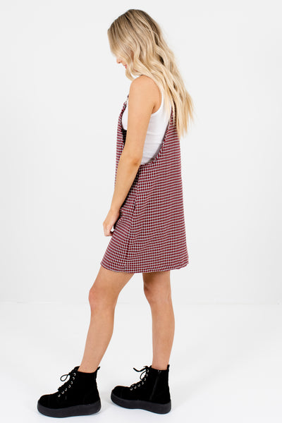 Red Houndstooth Plaid Mini Pinafore Dresses Affordable Online Boutique