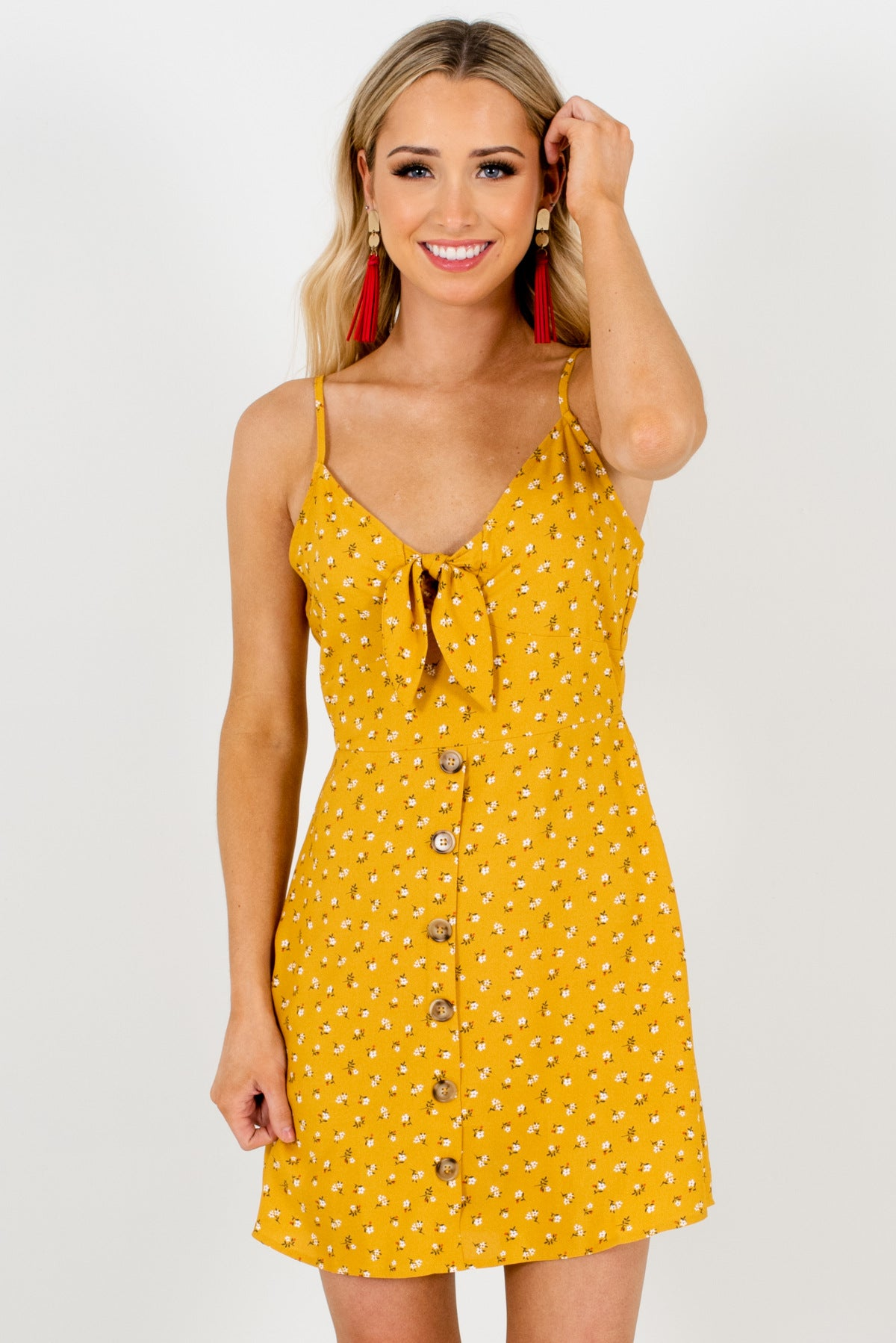 Mustard Yellow Floral Patterned Boutique Mini Dresses for Women