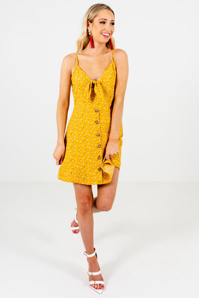 Mustard Yellow Floral Cute and Comfortable Boutique Mini Dresses for Women
