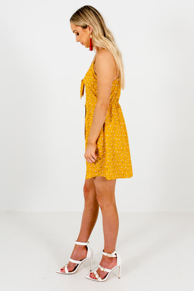 Mustard Yellow Self-Tie Front Detailed Boutique Mini Dresses for Women
