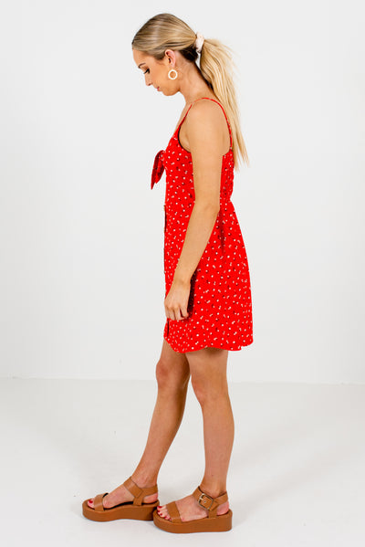 Red Self-Tie Front Detailed Boutique Mini Dresses for Women