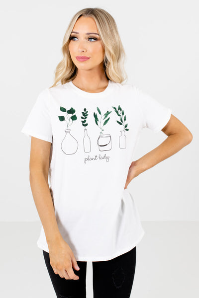 White Classic T-Shirt Fit Boutique Graphic Tees for Women