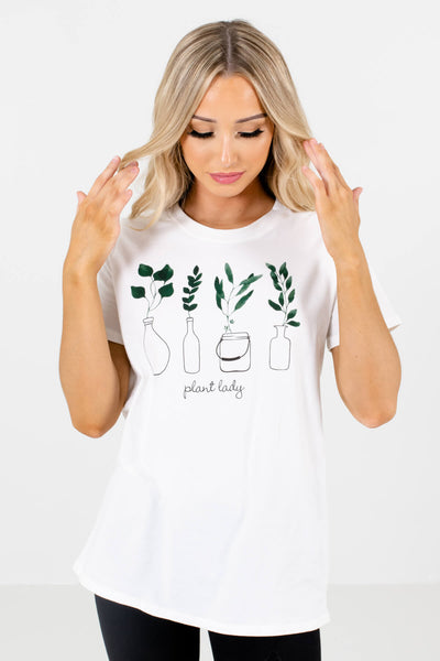 Women's White Casual Everyday Boutique T-Shirt
