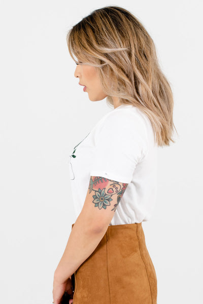 White Plant Graphic T-Shirts for Women
