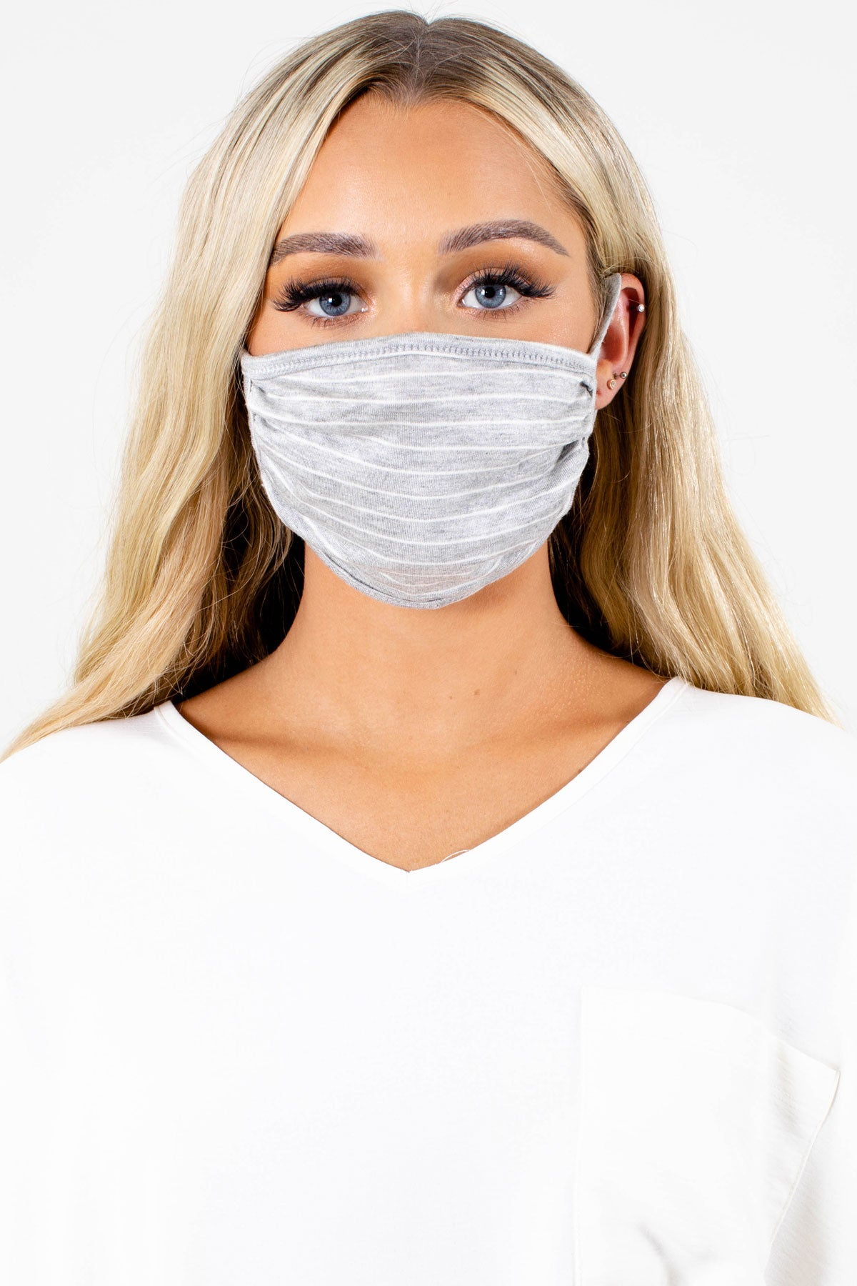 Gray and White Striped Boutique Face Masks for Women