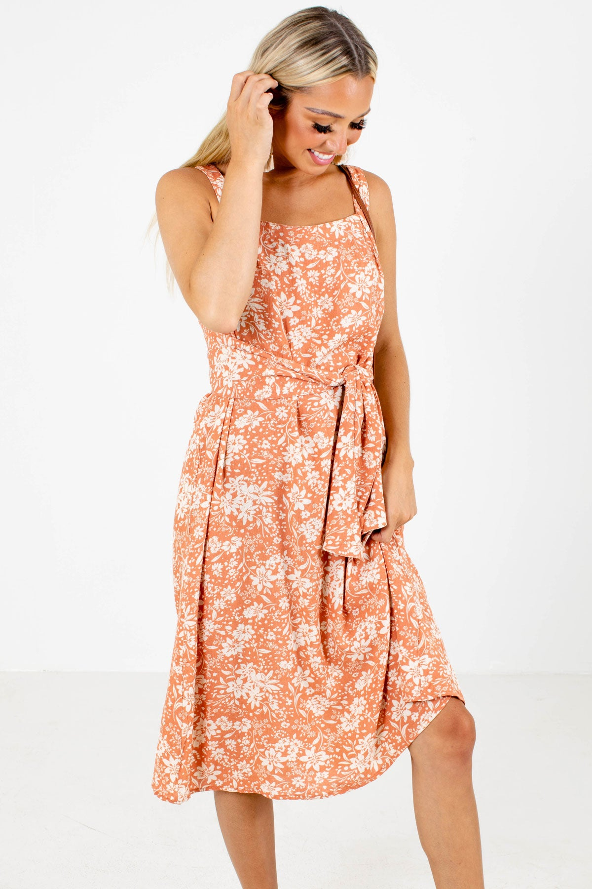 Peach Pink and Cream Floral Patterned Boutique Midi Dress