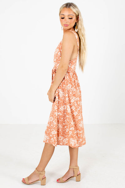 Pink Waist Tie Detail Boutique Midi Dresses for Women