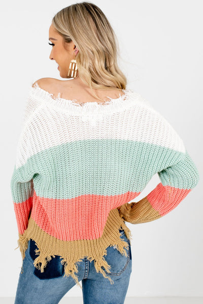 Mint Green Long Sleeve Boutique Sweaters for Women
