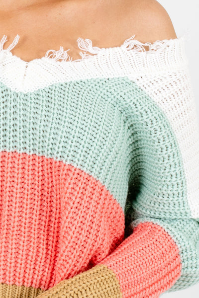 Mint Green Multicolored Stripe Patterned Boutique Sweaters for Women