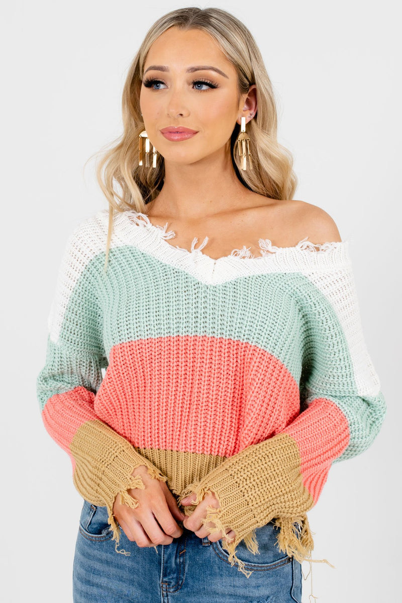 Playful Hearts Mint Multi Striped Sweater