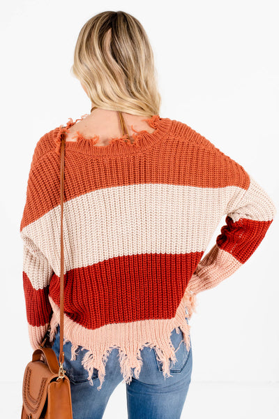 Women's Rust Orange Distressed Detailing Boutique Sweater