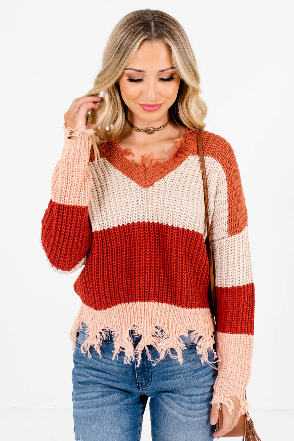 Rust Orange High-Quality Knit Material Boutique Sweaters for Women