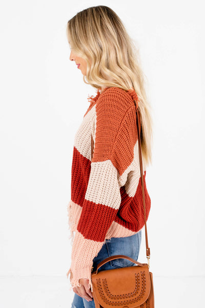 Women's Rust Orange V-Neckline Boutique Sweater