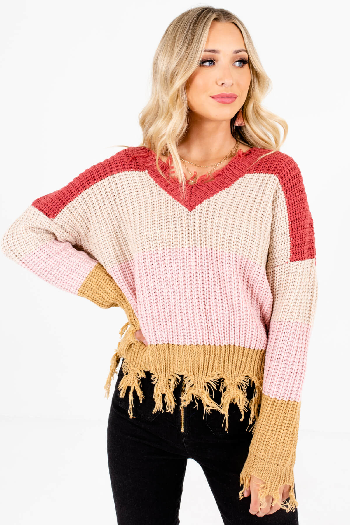 Light Pink Multicolored Stripe Patterned Boutique Sweaters for Women