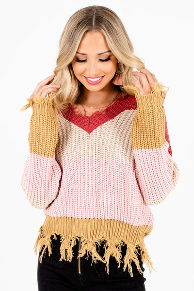Women's Light Pink Cozy and Warm Boutique Sweater