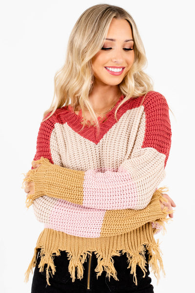 Light Pink High-Quality Knit Material Boutique Sweaters for Women