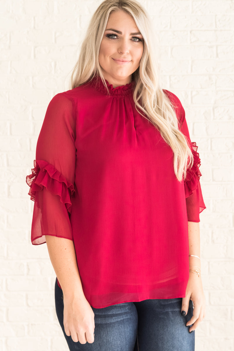 Playing Cupid Wine Red Blouse