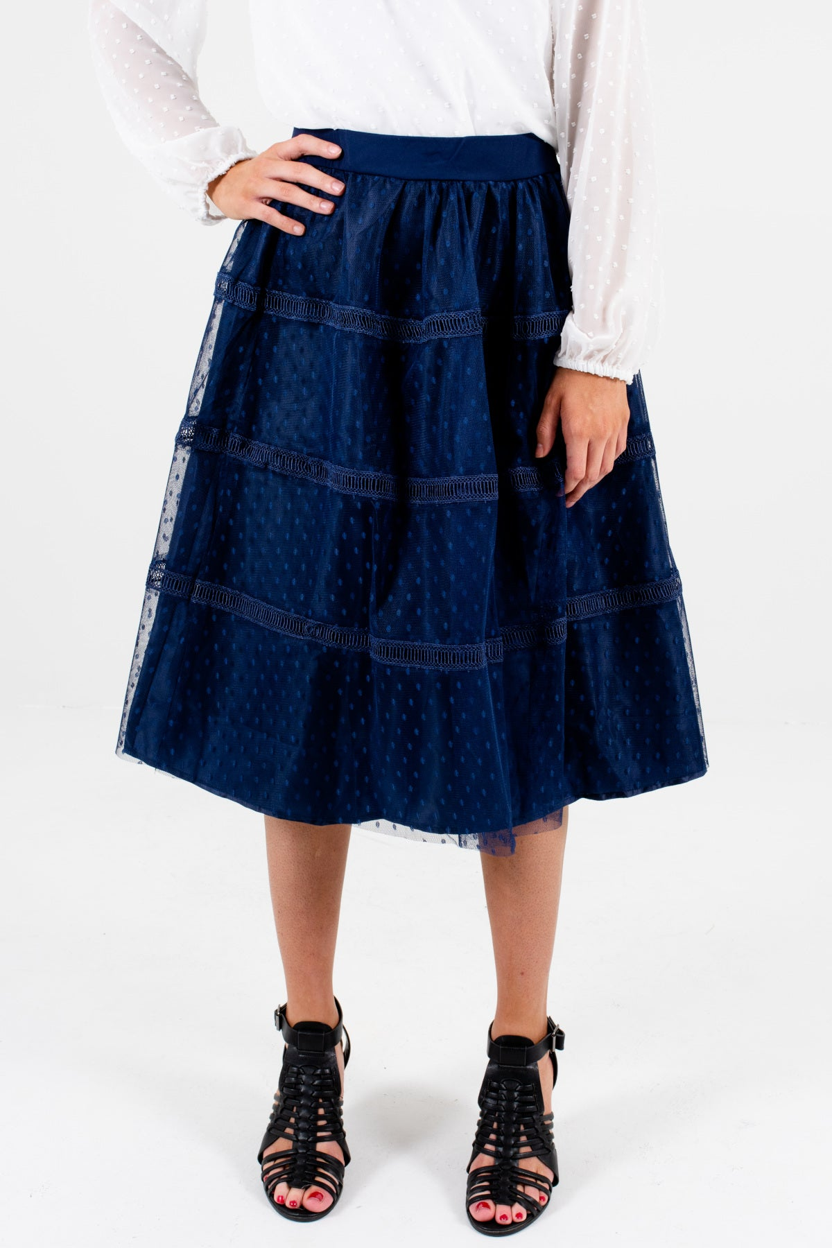 Navy Blue Polka Dot Tulle Ladder Lace Fully Lined Knee-Length Skirts