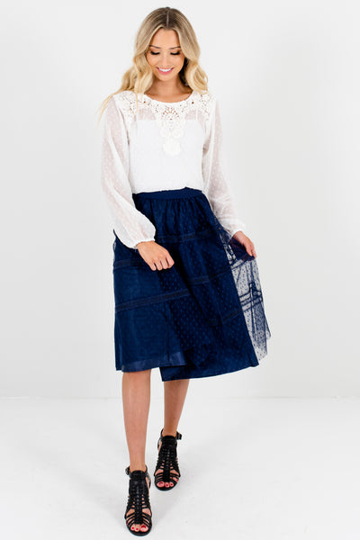 a04e94762e Navy Blue Knee-Length Skirts with Polka Dot Tulle and Ladder Lace