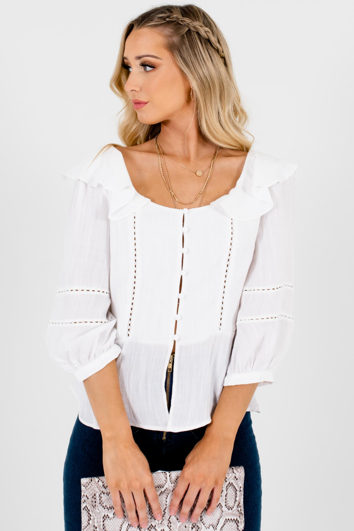 White Button Up Ruffle Puff Sleeve Semi Sheer Crochet Lace Blouse