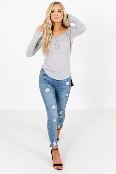 Women's Gray Ribbed Material Boutique Top