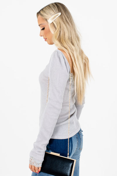 Gray Cute and Comfortable Boutique Tops for Women