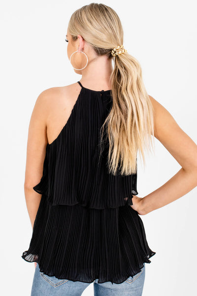 Black Pleated Tiered Tank Tops Affordable Online Boutique