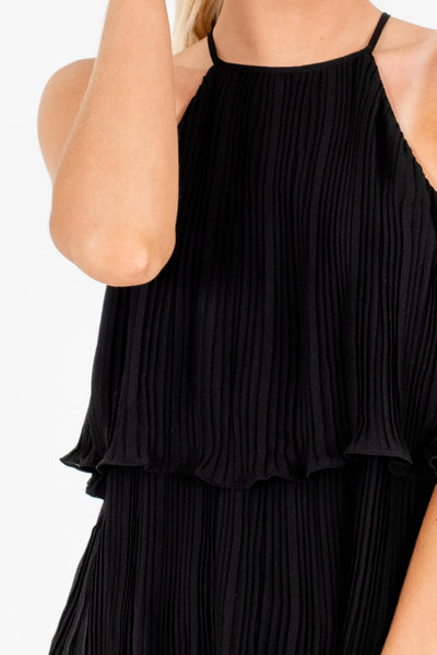 Black Pleated Halter Tank Tops Affordable Online Boutique